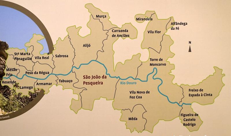 Douro wine region districts map