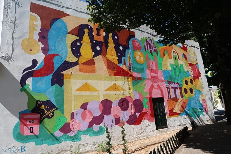 Colourful mural of the N2 in Vila Real