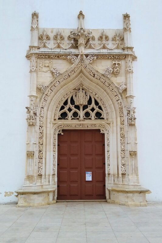 Manueline doorway to Igreja de São João Baptista, Tomar, Portugal.