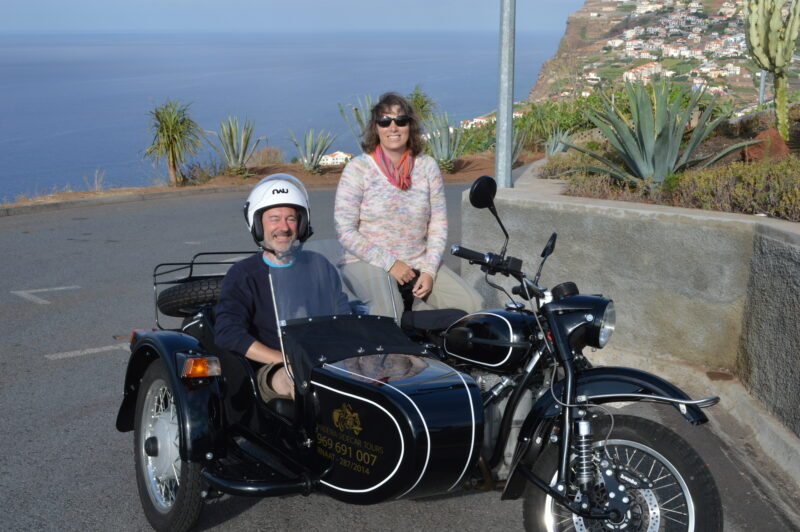2 people on motorbike and sidecar in Madeira.