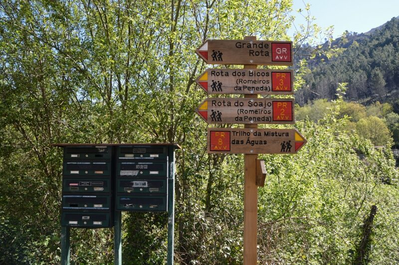Walking trail signs in Portugal