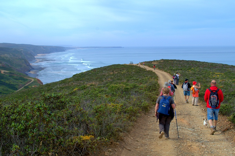 Group of hikers on the Rota Vicentina in Portugal