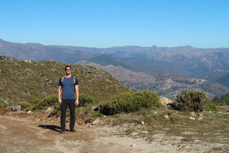 Happy hiker near Lindoso in the Peneda-Gerês National Park