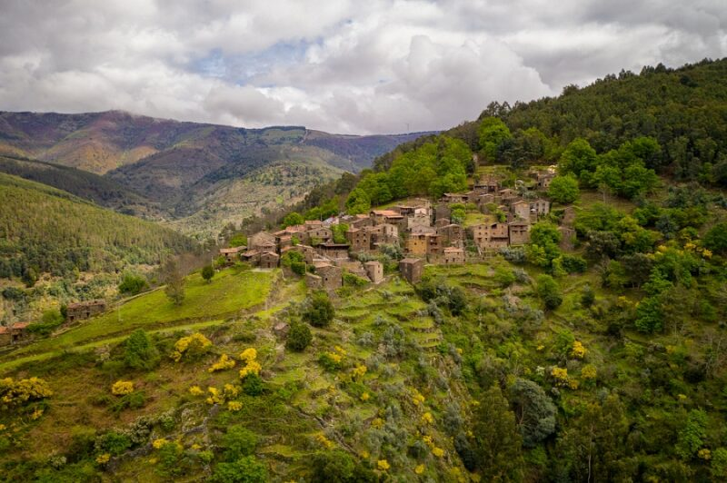 Talasnal drone aerial view schist village in Lousa, in Portugal