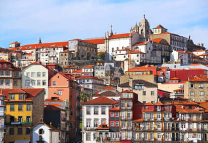 Old buildings in Ribeira district of Porto on the bank of Douro river, Portugal