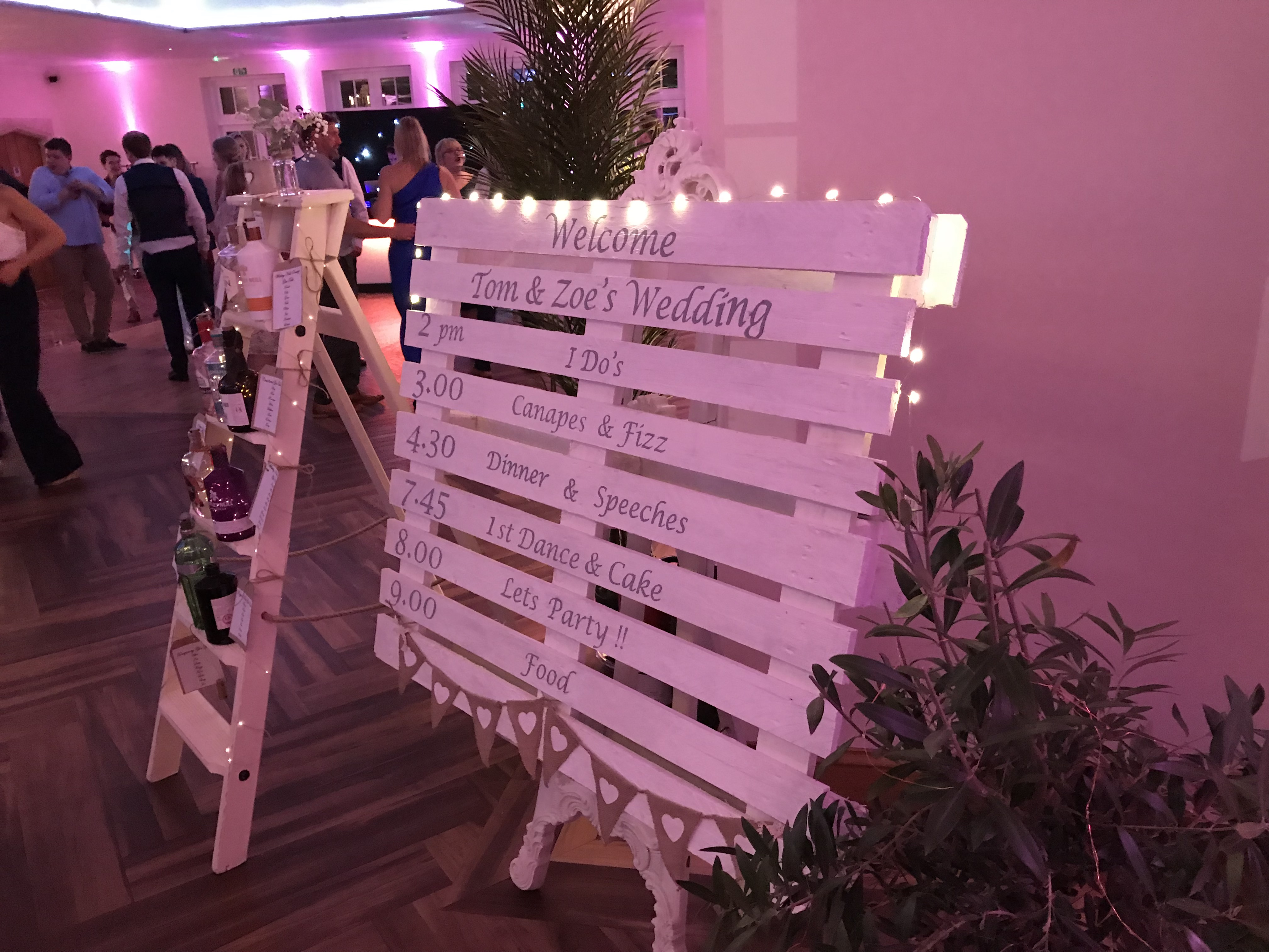 Somerset Wedding Order of service on painted pallet