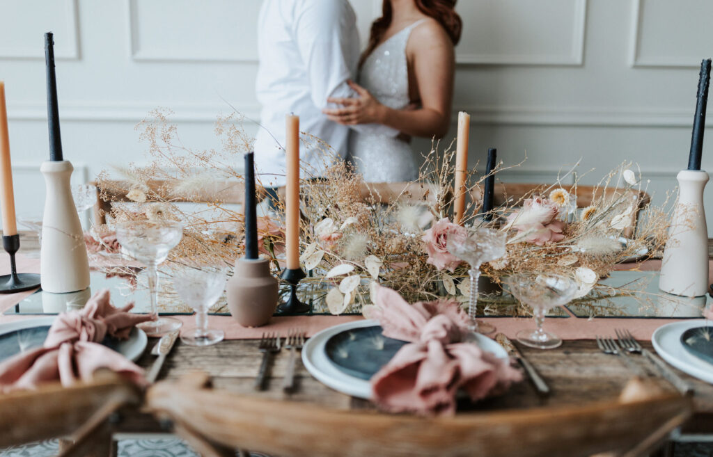 Beautifully styled table at a unique intimate wedding celebration.