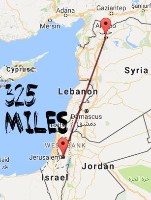 325 miles to aleppo