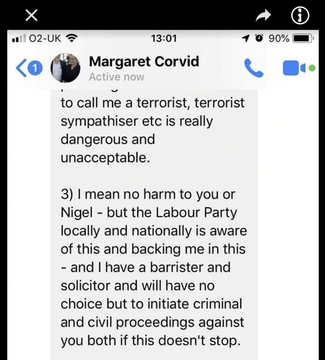 Councillor Maragret Corvid making threats
