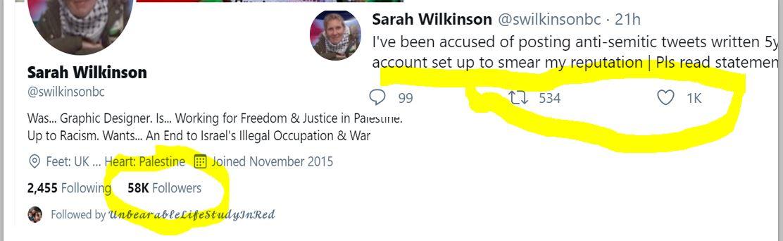 Sarah Wilkinson Twitter account