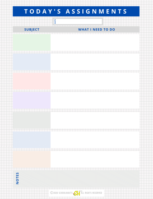 Daily homework planner - colored