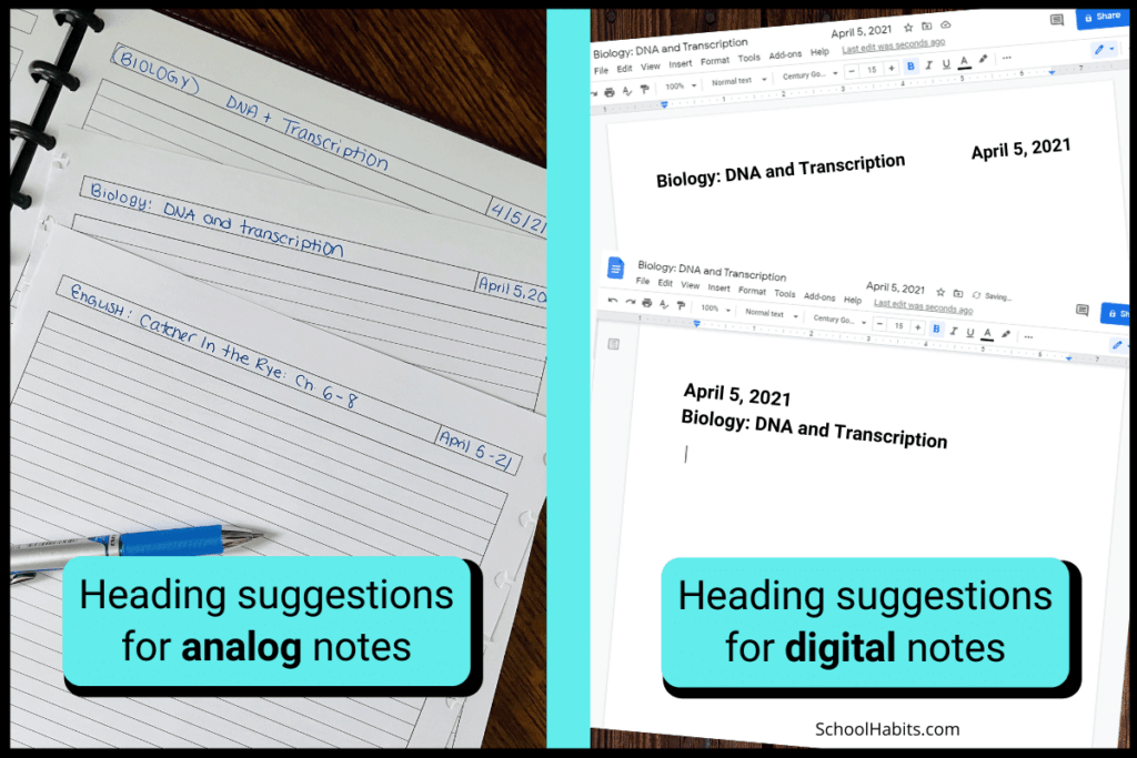 keep your notes organized with headings