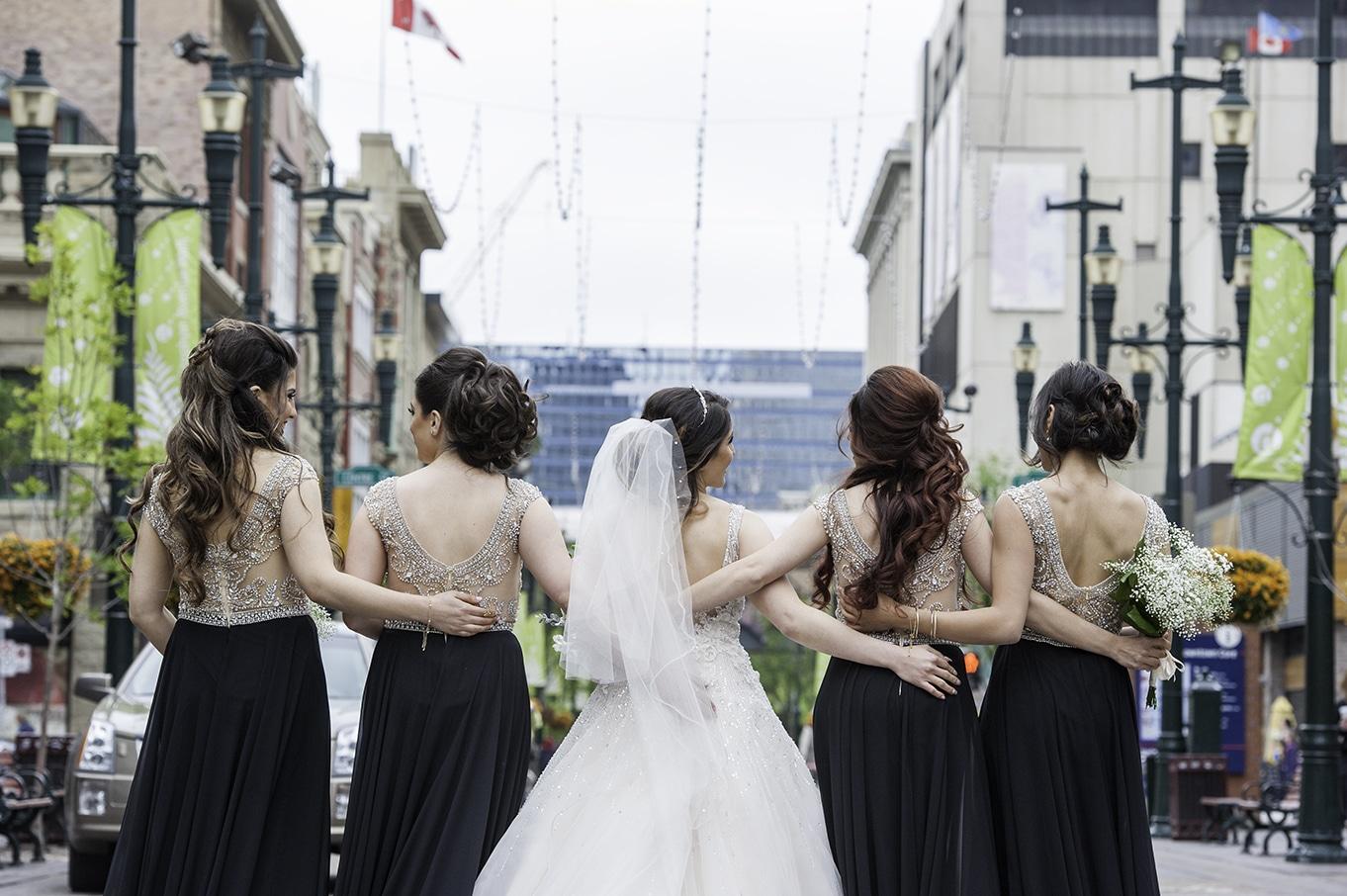bridal party portraits stephen avenue calgary