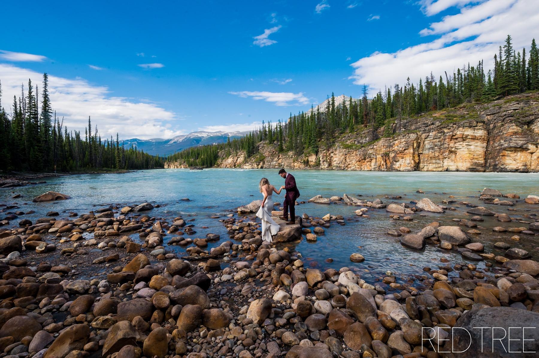 Pyramid Lake Island Elopement: Jasper National Park Wedding Photographer
