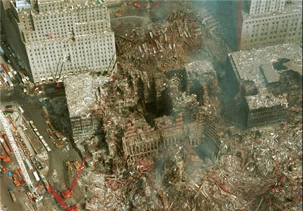 Hollowed Out Building #6 just after the 9/11 attacks