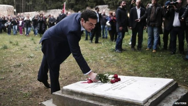 Mr Tsipras honoured Greek resistance fighters who were executed by Nazi occupation forces