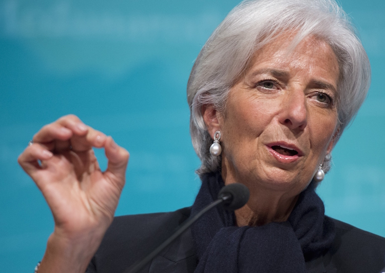 IMF Managing Director Christine Lagarde speaks about the state of the US, Greek and global economy during a press conference at IMF Headquarters in Washington, DC, June 4, 2015. AFP PHOTO / SAUL LOEB        (Photo credit should read SAUL LOEB/AFP/Getty Images)