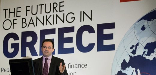 """Greek Finance Minister George Papaconstantinou delivers a speech at a conference about the future of banking in Greece, on 21 January 2010. Papaconstantinou referred extensively to the credibility problem the Greek economy faces on the international markets, stressing that """"the goal of wiping out the credibility deficit is a priority for us, because otherwise all our other policies will be founded on shaky foundations; they will be moving in quicksand that could consume us"""". EPA/PANTELIS SAITAS +++(c) dpa - Bildfunk+++"""