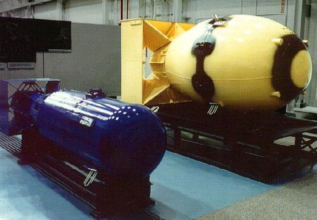 In the below photo are replicas of two famous atomic bombs. The blue one was known as Little Boy and dropped on Hiroshima, Japan on August 6, 1945. The yellow one was known as Fat Man and dropped on Nagasaki, Japan on August 9, 1945