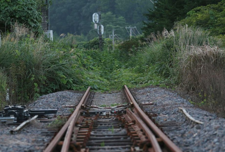 In this Friday, Sept. 4, 2015 photo, the rusty train track of Joban line is covered with weeds near the Tatsuta Station in Naraha town, Fukushima prefecture, northeastern Japan. This past weekend, Naraha became the first of seven towns that had been entirely evacuated to reopen since the March 11, 2011, disaster, when a tsunami slammed into the Fukushima Dai-ichi nuclear power plant, causing meltdowns and a massive radiation leak. The town's viability is far from certain, and its fate will be watched closely by authorities and neighboring towns to see if recovery is indeed possible in this radiation-contaminated land. (Photo: Koji Sasahara, AP)