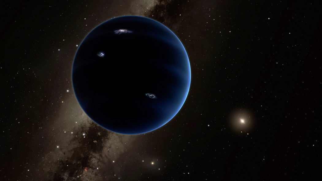 An artist's impression of a possible ninth planet. It would be quite large — at least as big as Earth — with a thick atmosphere around a rocky core. Credit California Institute of Techonology
