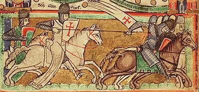 A Templar riding into battle, from a twelfth-century map of Jerusalem
