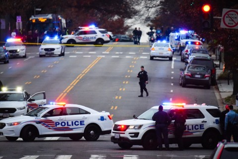 Police secure the scene near Comet Pingpong in Chevy Chase. (Photo by Sarah L. Voisin/The Washington Post)
