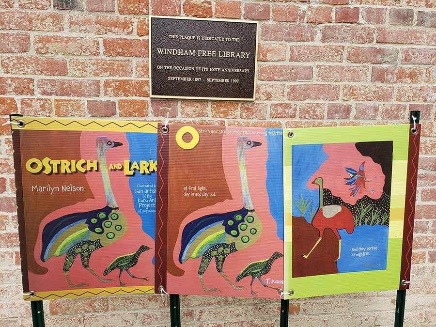 The Windham Free Library Ostrich signs