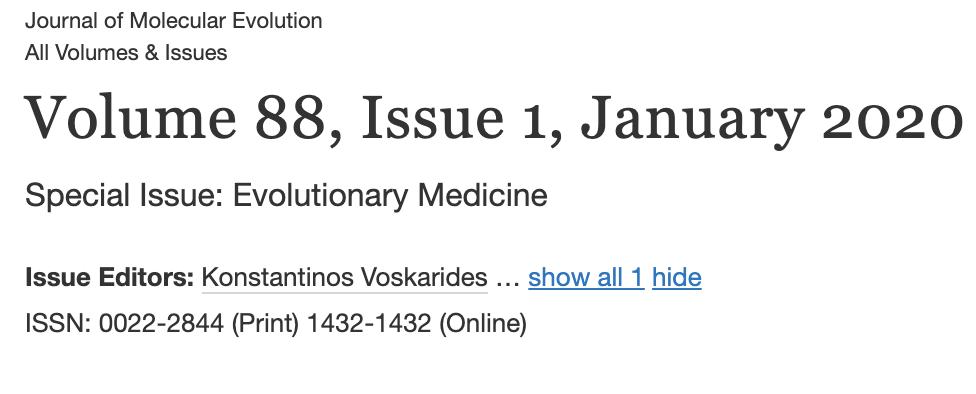 Special Issue on Evolutionary Medicine