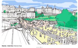 Pedestrianisation of Waverley, Edinburgh, as propsed by Jacobs