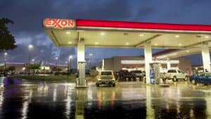 Forecourt of Exxon service station - certain agencies rate fossil-fuel giant Exxon Mobil and EV maker Tesla the same for ESG