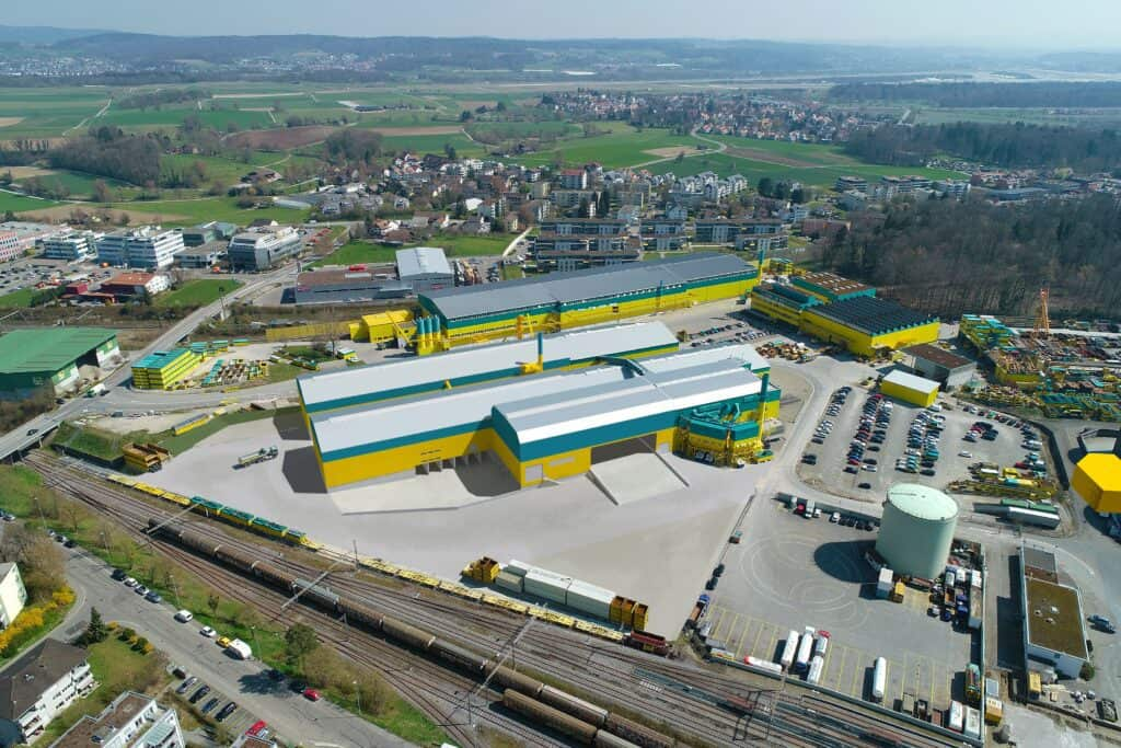 Aerial shot (CGI) of completed Eberhard recycling plant in Oberglatt, Switzerland