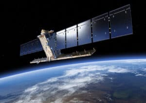 One of the two satellites of the Copernnicus Sentinel-1 mission pictured in orbit above Earth