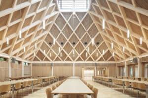 Timber interior of school refectory