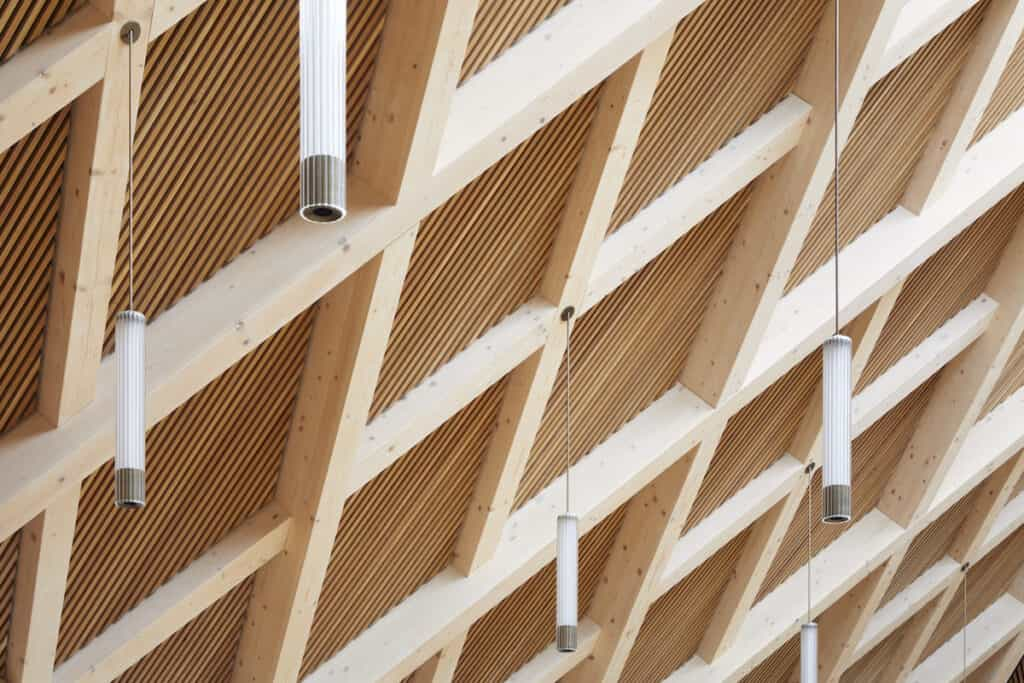 Ceiling detail from timber interior of school refectory