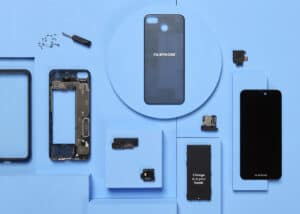 Fairphone product shot showing component parts for disassembly