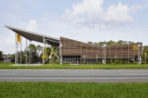 Side elevation showing Kebony louvred exterior of McDonald's Flagship-Disney restaurant, in Orlando