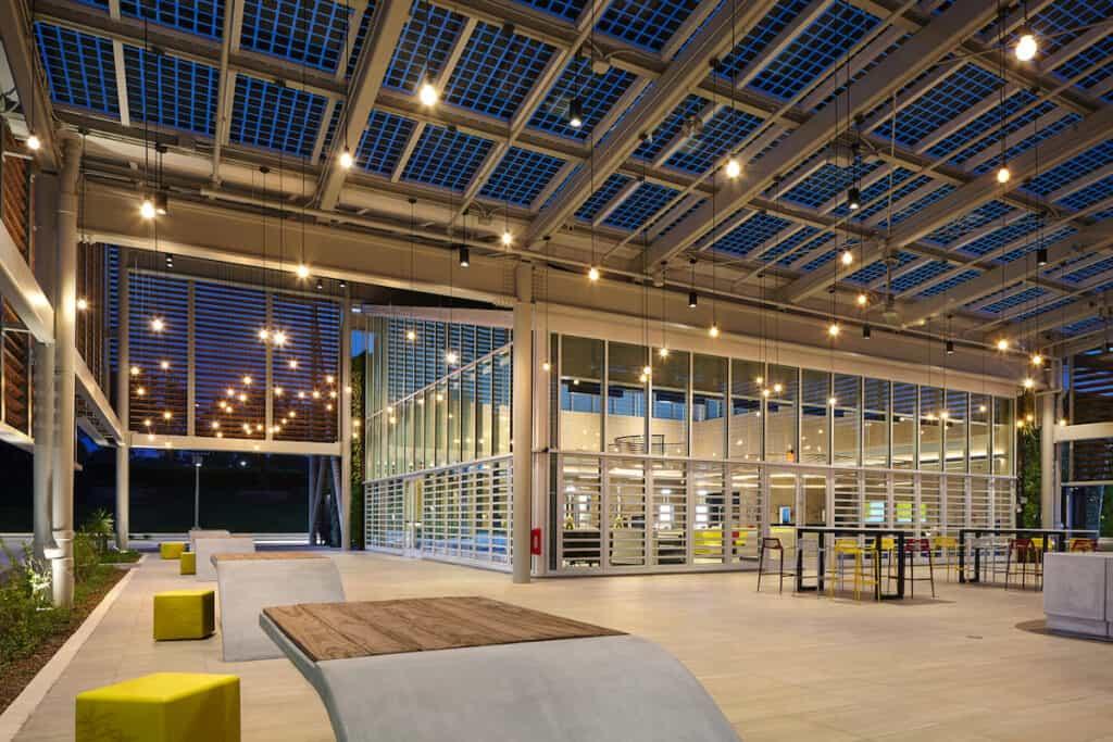 Open 'porch' area to McDonald's Flagship-Disney restaurant, in Orlando (at night)
