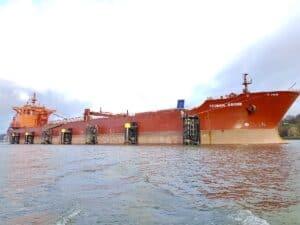 Ship docked in new green berthing area at Port of Hamburg