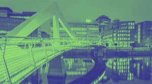 Image of Glasgow in green and blue for COP26.