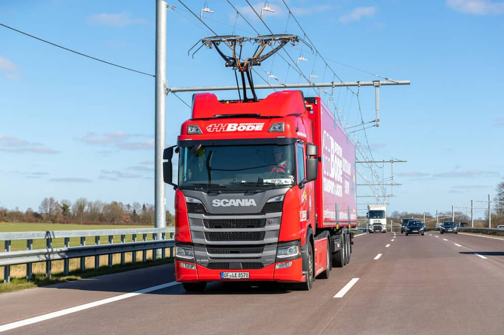 Scania truck on eHighway in Germany, courtesy of Siemens Mobility