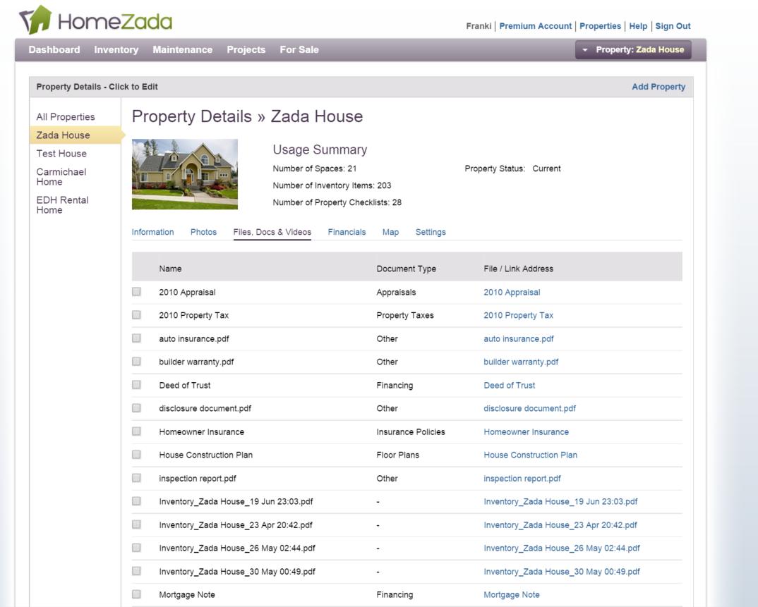 HomeZada Property Documents Storage