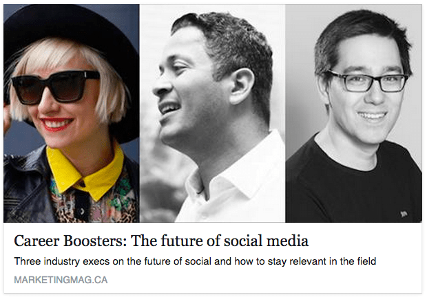 Career Boosters - The Future of Social Media, Marketing Magazine, Casie Stewart