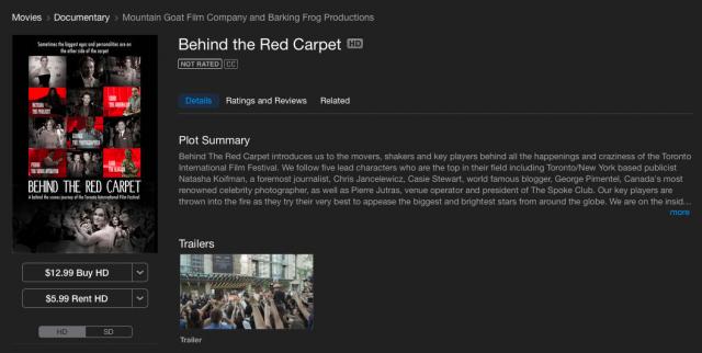 Behind The Red Carpet Film, iTunes,  Casie Stewart