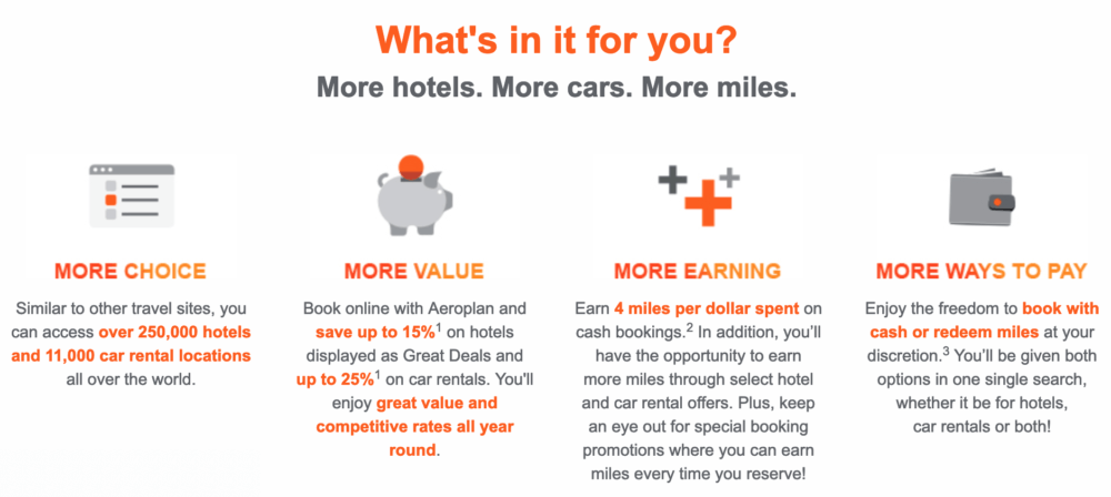 Book, earn, repeat! ?Enjoy a special double the Aeroplan miles offer until April 14, 2019, and earn an additional ?4 bonus miles per dollar spent?.