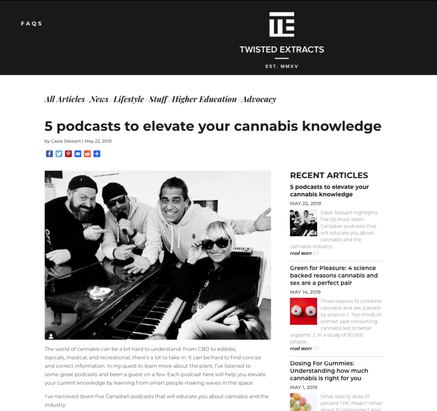 5 Cannabis podcasts to elevate your knowledge. Twisted Extracts blog written by Casie Stewart.