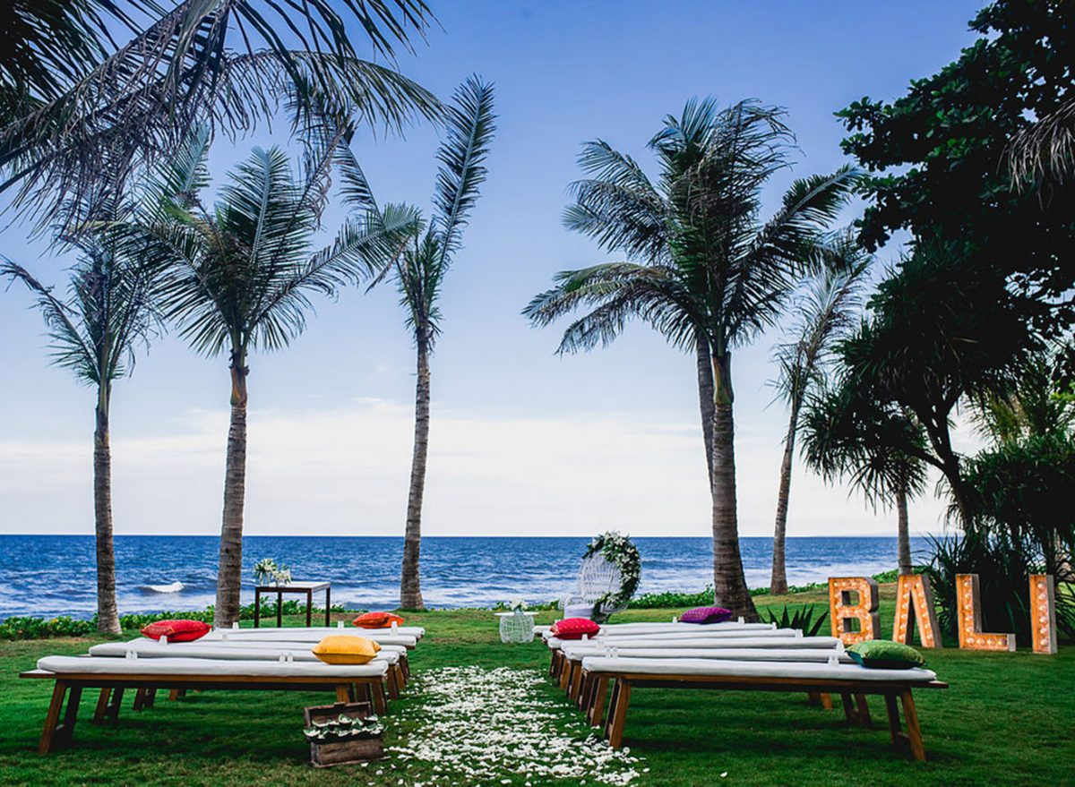 A private wedding ceremony venue at Komune Beach, Bali - one of our favorite places to perform