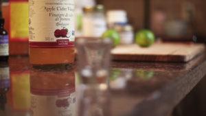 upclose shot of ACV fasting drink ingredients