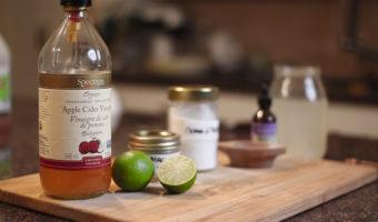 Six ingredients used to make apple cider vinegar ACV fasting drink including magnesium, limes, stevia salt and potassium