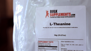 1kg bag of L theanine Powder from bulk supplements with blood pressure warning